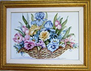 Multi Colored Ceramics Originals - 1119 Flower-Basket framed by Wilma Manhardt