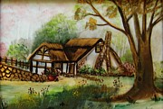 Hand Painted Porcelain Ceramics Posters - 1128b Cottage Painted On Top Of Gold Poster by Wilma Manhardt