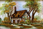 Original Ceramics Framed Prints - 1129b Cottage painted on top of gold Framed Print by Wilma Manhardt