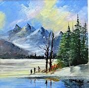 Hand Painted Porcelain Ceramics Posters - 1130b Mountain Lake Scene Poster by Wilma Manhardt