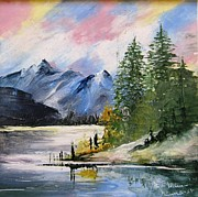 Hand Painted Porcelain Ceramics Posters - 1131b Mountain Lake Scene Poster by Wilma Manhardt