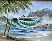 Hand Painted Ceramics Framed Prints - 1132b Waterwave Scene Framed Print by Wilma Manhardt