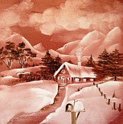Red Art Ceramics Prints - 1140b Winter Scene Print by Wilma Manhardt