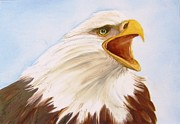 Hand Painted Ceramics Framed Prints - 1148 b  Bold Eagle  2 Framed Print by Wilma Manhardt