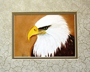 Bald Eagle. Ceramics - 1150 Bold Eagle  4 on canvas tile by Wilma Manhardt