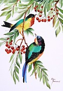 Hand Painted Ceramics Posters - 1152 Little Birds And Berries Poster by Wilma Manhardt