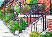 Brick Drawings Metal Prints - 11th Street NW Metal Print by Karen Kinzie