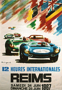 Automotiv Framed Prints - 12 Heures Internationale Reims 1967 Framed Print by Nomad Art And  Design