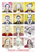 Italian Drawings Prints - 12 Italian Composers Print by Paul Helm