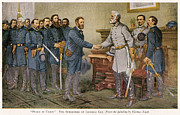 General Ulysses Grant Framed Prints - Lees Surrender 1865 Framed Print by Granger