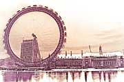 London Print Posters - London Eye Art Poster by David Pyatt