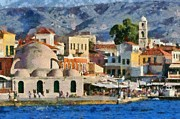 Holidays Art - Painting of the old port of Chania by George Atsametakis