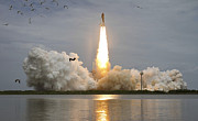 Plumes Prints - Space Shuttle Atlantis Lifts Print by Stocktrek Images