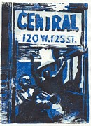 Linocut Reliefs Originals - 125th Street by John Brisson