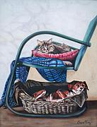 Dog And Cat Posters - 126 Green Chair Condo Poster by Sigrid Tune