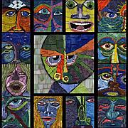Grid Paintings - 13 Faces by Gila Rayberg