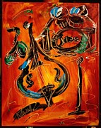 Pop Art Prints Painting Originals - Jazz by Mark Kazav