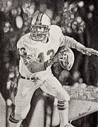 Dan Marino Drawings - 13 by Mike  Haslam