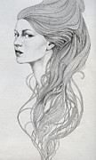 Woman Drawings Metal Prints - 131 Metal Print by Diego Fernandez