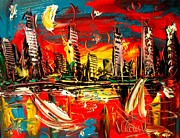 Sunset Greeting Cards Painting Posters - City Poster by Mark Kazav
