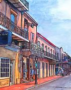 Gras Drawings Framed Prints - 14  French Quarter Street Framed Print by John Boles