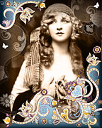 Nostalgic Mixed Media Framed Prints - Goddess Framed Print by Chris Andruskiewicz