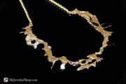 Nugget Necklace Art - 14kt Gold Freeform Necklace by Nicholas Damario