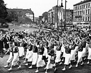 Marxism Framed Prints - 15,000 East German Teenage Girls Parade Framed Print by Everett