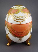 Easter Ceramics Originals - 1505 footed Egg Box yellow red  by Wilma Manhardt