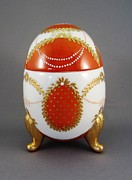 Signed Ceramics - 1525 Footed Egg-Box red by Wilma Manhardt