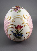 Flower Ceramics Originals - 1532 German Porcelain Egg Dresden Style by Wilma Manhardt