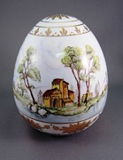 Easter Ceramics - 1540 Egg with 3 European Scenes by Wilma Manhardt