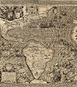 Neptune Prints - 1562 Map Of North And South America Print by Everett