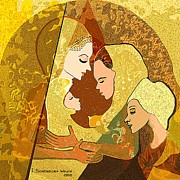 Colour Gold Prints - 157 - Three women and a child Print by Irmgard Schoendorf Welch