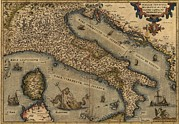 Sicily Photos - 1570 Map Of Italy  From Abraham by Everett