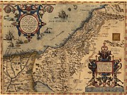 Holy Land Framed Prints - 1570 Map Of Palestine, From Abraham Framed Print by Everett