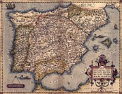 Mallorca Posters - 1570 Map Of Spain. From Abraham Poster by Everett
