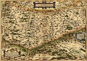Dracula Photos - 1570 Map Of Transylvania, Now by Everett