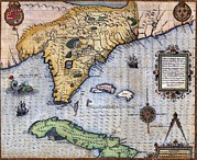 Caribbean Port Posters - 1591, Exploration Era Map Of Florida Poster by Everett