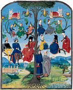 Genealogy Posters - 15th-century Family Tree Poster by Photo Researchers