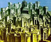 Jerusalem Photos - 15th Century Woodcut Of Jerusalem by Photo Researchers