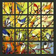 Blue Green Framed Prints - 16 Birds Framed Print by Jennifer Lommers