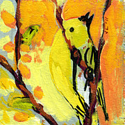 Yellow Painting Originals - 16 Birds No 1 by Jennifer Lommers