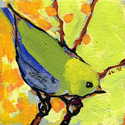 Lime Green Framed Prints - 16 Birds No 2 Framed Print by Jennifer Lommers