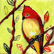 Lime Green Prints - 16 Birds No 3 Print by Jennifer Lommers