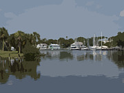 Riverfront Park Digital Art Framed Prints - Eau Gallie River in Florida Framed Print by Allan  Hughes