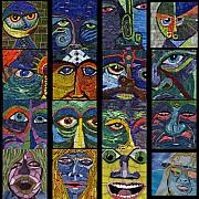Eyes Glass Art - 16 Faces by Gila Rayberg