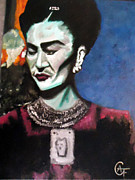 Diego Rivera Framed Prints - Frida Kahlo Framed Print by Alfonso  f Gallegos