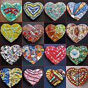 Grid Paintings - 16 Hearts by Gila Rayberg