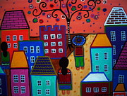 Mexico People Paintings - Mexican Town by Pristine Cartera Turkus